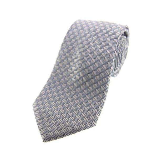 Grey Neat Checker Board Polyester Morning Tie