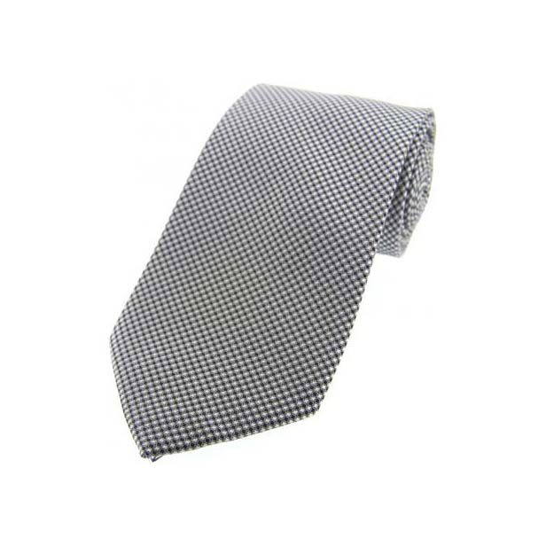 Grey Neat Woven Polyester Morning Tie