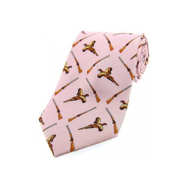 Pastel Pink Flying Pheasant and Shotgun Country Silk Tie