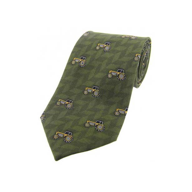 Yellow Tractors On Country Green Country Silk Tie
