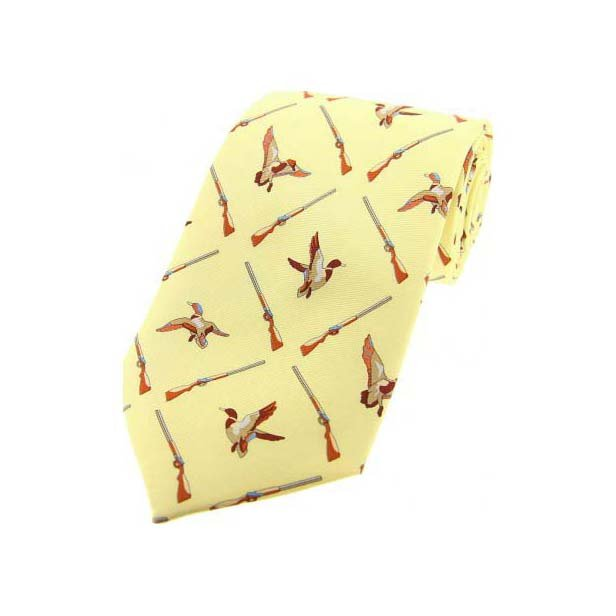 Flying Ducks On Pastel Yellow Country Silk Tie