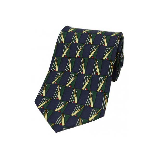 Cricket Bat And Stumps on a Navy Silk Tie