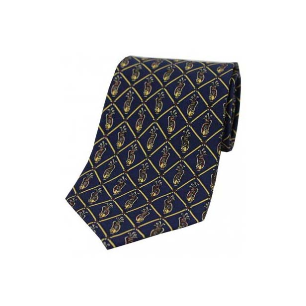 Golf on a Navy Silk Tie