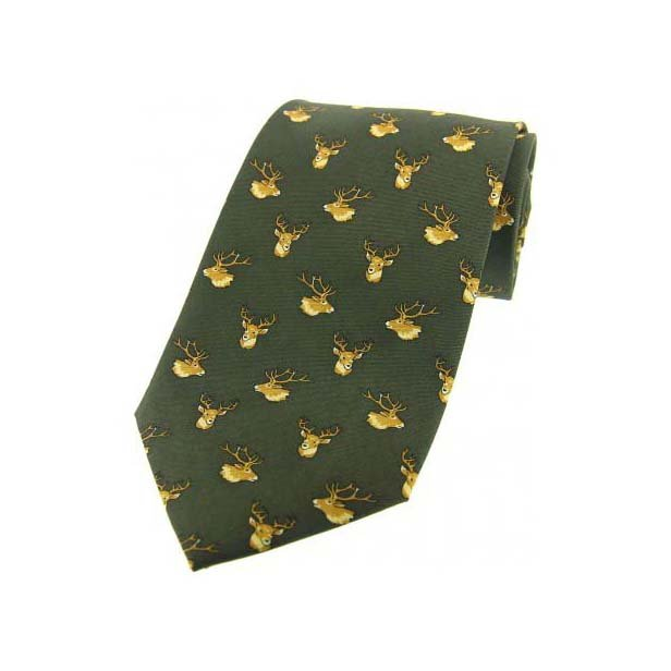 Stags Heads On Country Green Country Silk Tie