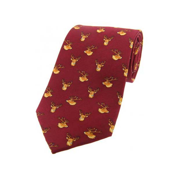 Stags Deer Heads On Wine Country Silk Tie