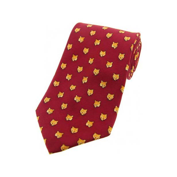Foxes Heads On Red Country Silk Tie