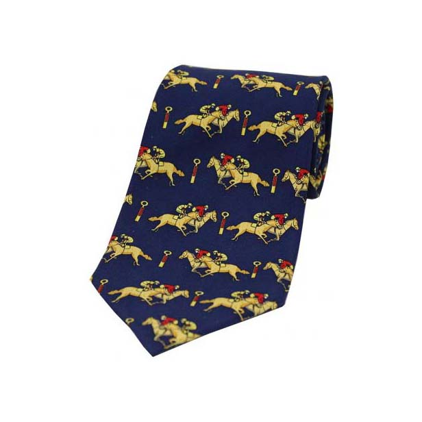 Racing Jockeys Past The Post on a Navy Silk Tie