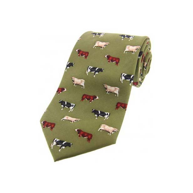 Cow Breeds On Country Green Country Silk Tie