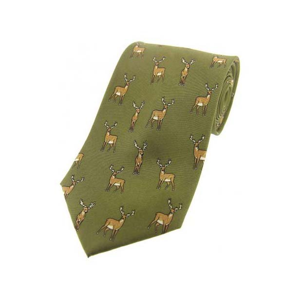 Standing Stag On Country Green Country Silk Tie