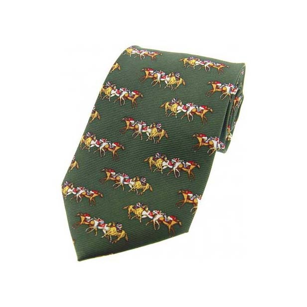 Racing Jockeys On Green Country Silk Tie