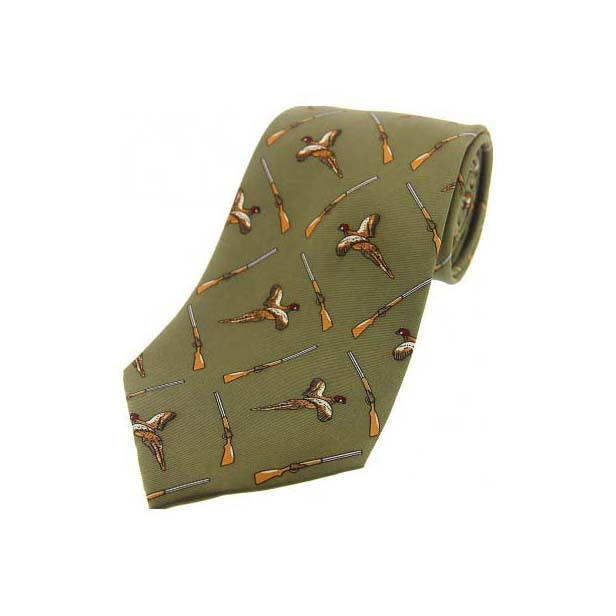 Country Green Flying Pheasant and Shotgun Country Silk Tie