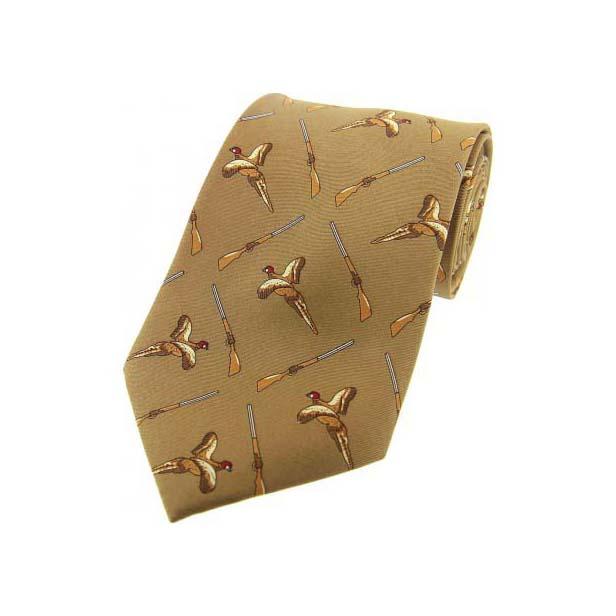 Country Brown Flying Pheasant and Shotgun Silk Tie
