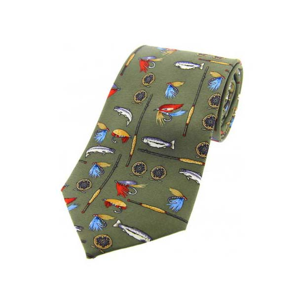 Fishing Tackle On Country Green Country Silk Tie