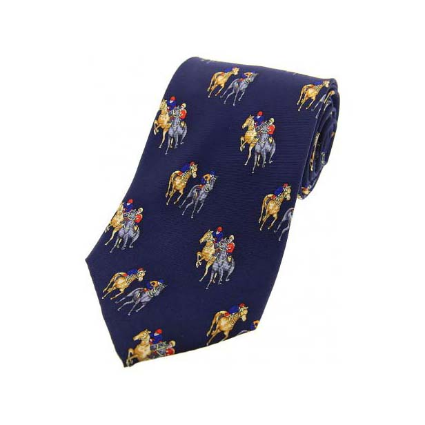Final Furlong on a Navy Silk Tie