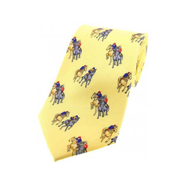 Final Furlong On Yellow Country Silk Tie