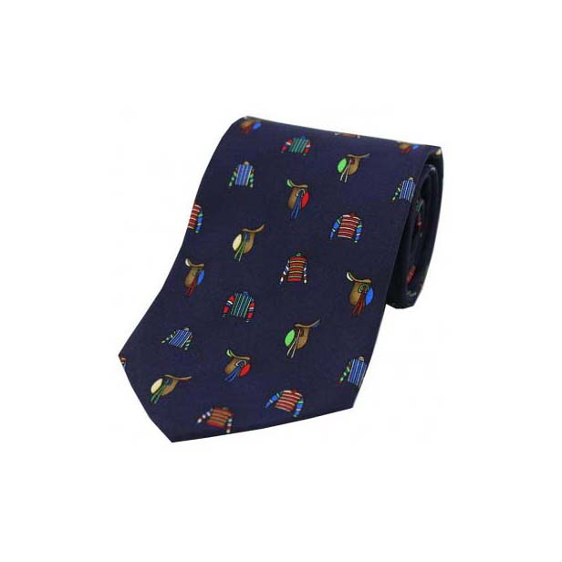 Racing Colours and Saddles on a Navy Silk Tie