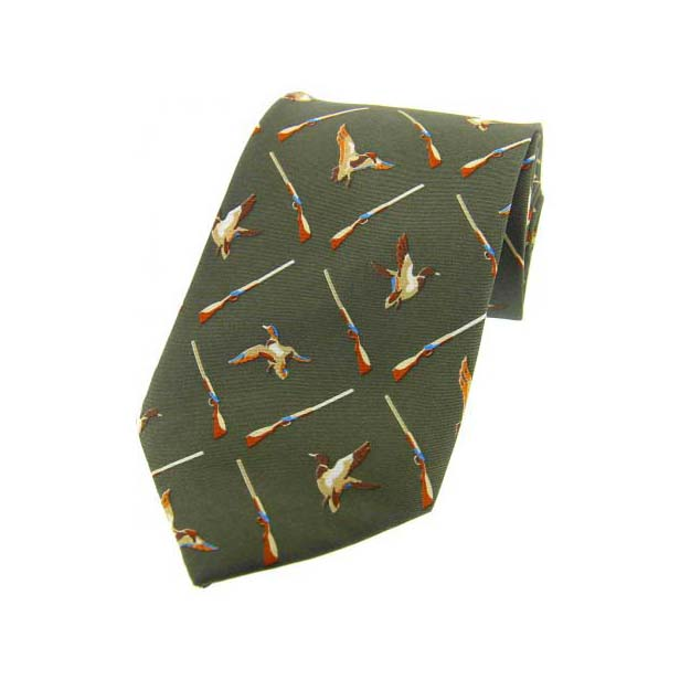 Flying Ducks Country Green Country Silk Tie
