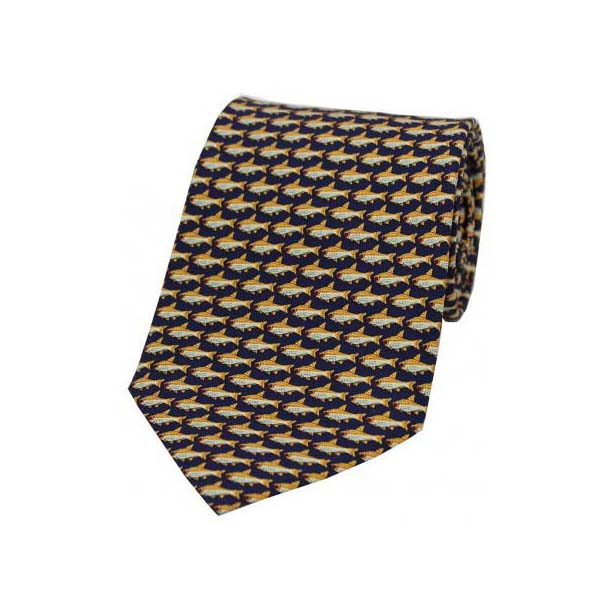 Fishes on a Navy Silk Tie
