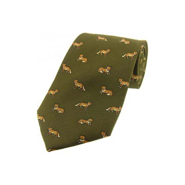 Foxes On Country Green Country Silk Tie