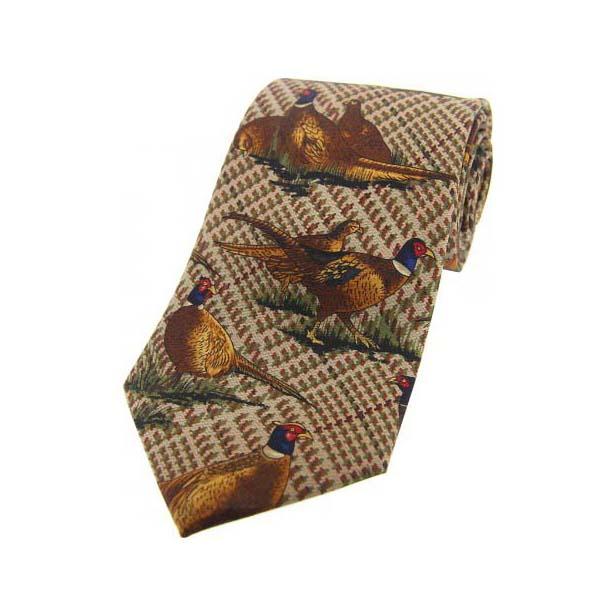 Standing Pheasants On Tweed Country Silk Tie