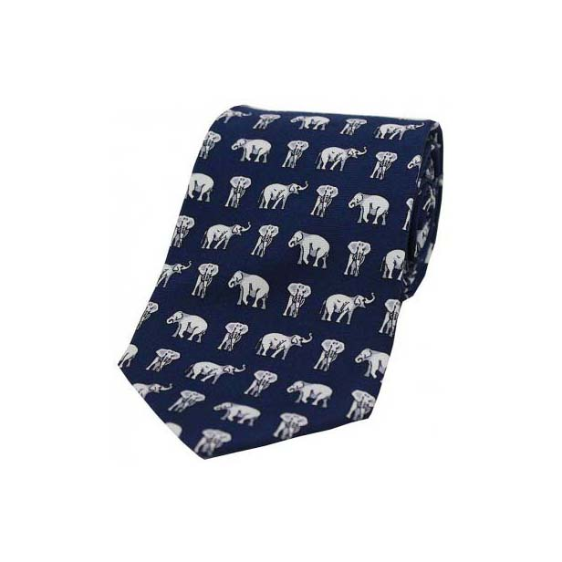 Grey Elephants On Blue Country Silk Tie