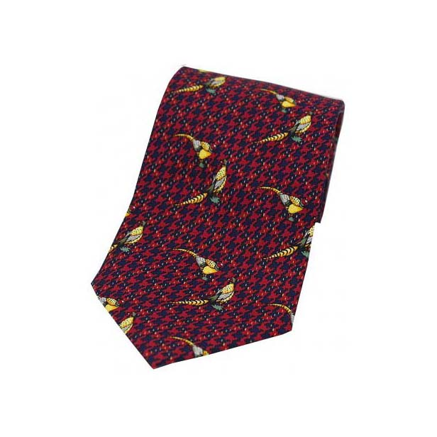 Pheasants On Wine Tweed Country Silk Tie