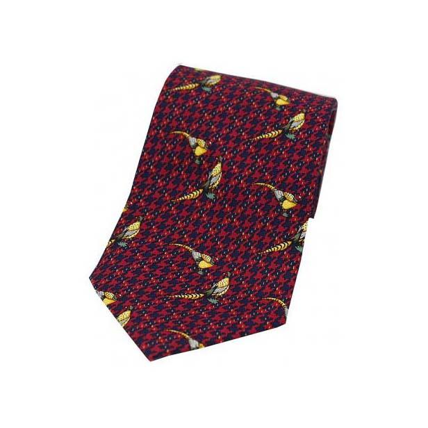 Pheasants On Wine Tweed Country Silk Tie