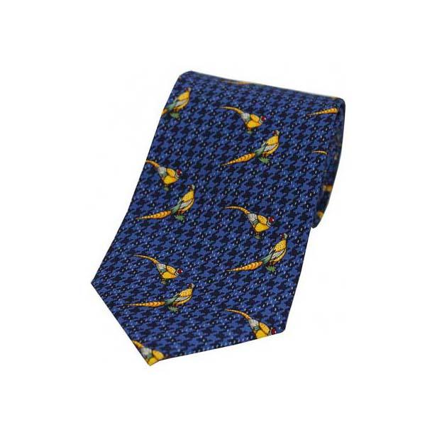 Pheasants On Blue Tweed Country Silk Tie