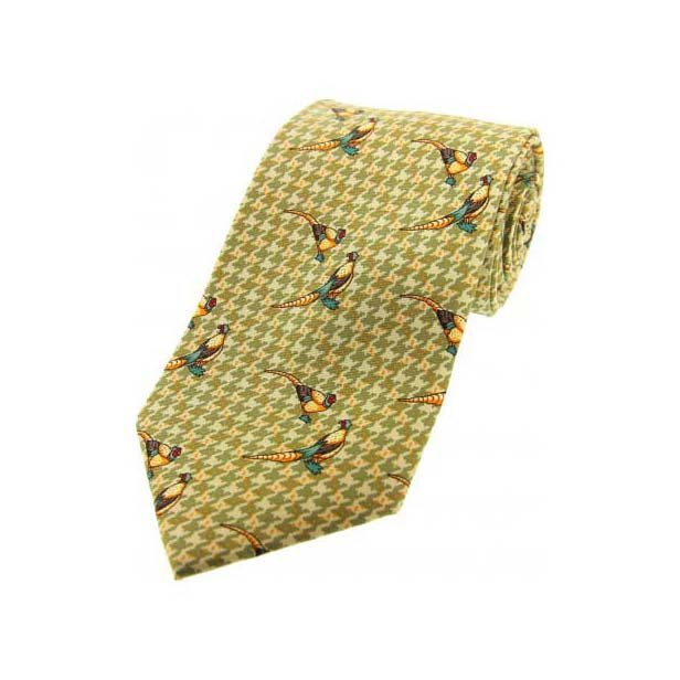 Pheasants On Green Tweed Country Silk Tie
