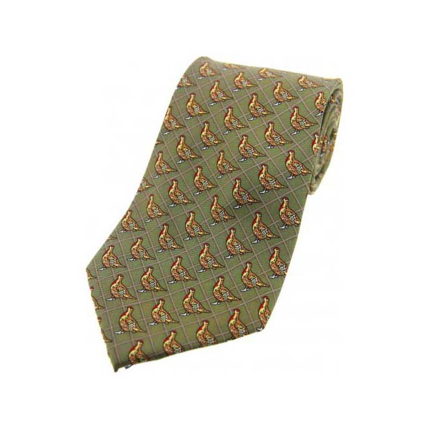 Standing Partridge on Country Green Silk Tie