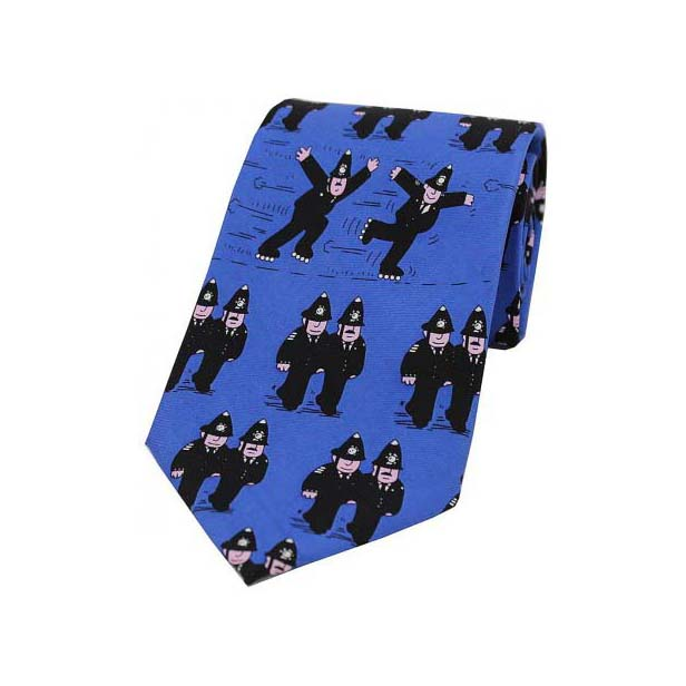 Policemen on Royal Blue Silk Tie