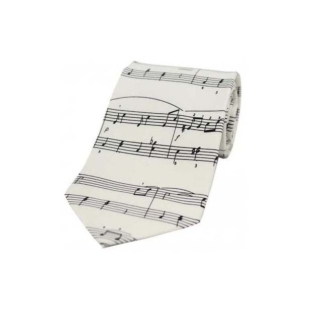 White And Black Musical Notes Silk Tie