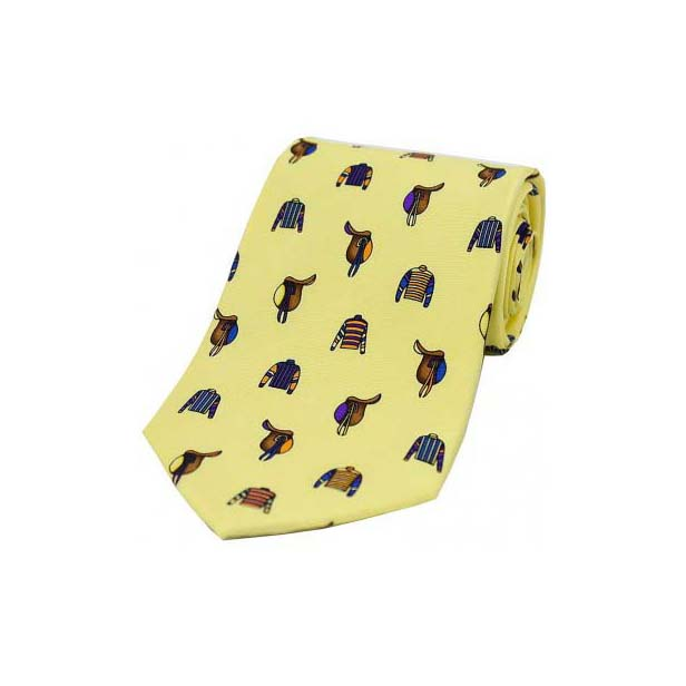 Racing Colours and Saddles On Pastel Country Silk Tie