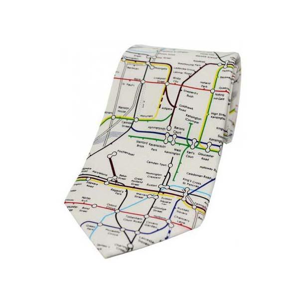 London Underground Tube Map On White Silk Tie