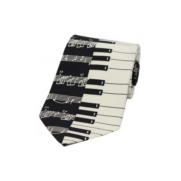 White And Black Piano Keys Silk Tie