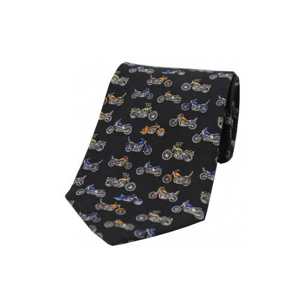 Motorbikes On Black Silk Tie