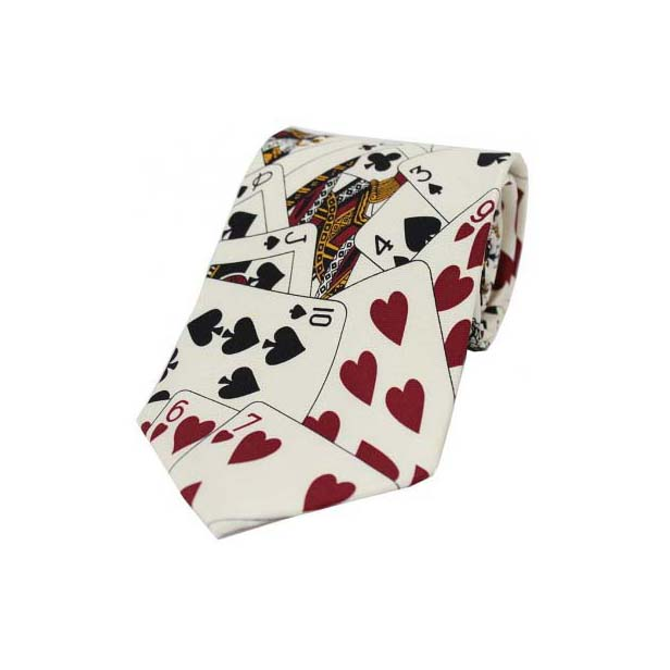 Playing Cards On White Silk Tie