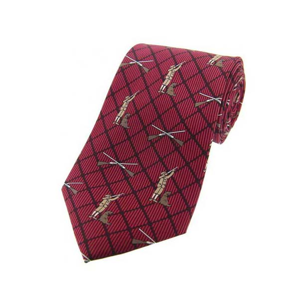 Hunter and Labrador On Wine Checked Country Silk Tie