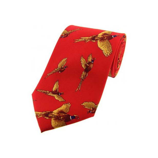 Flying Pheasants Red Country Silk Tie