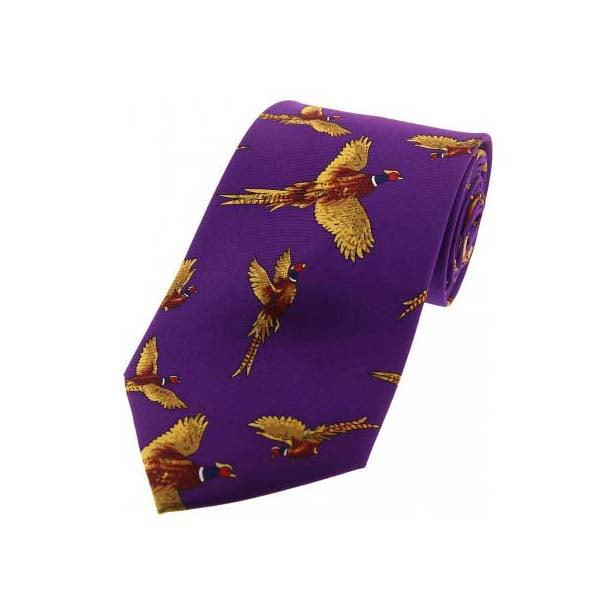 Flying Pheasants Purple Country Silk Tie