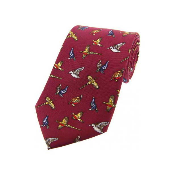 Country Birds On Wine Country Silk Tie