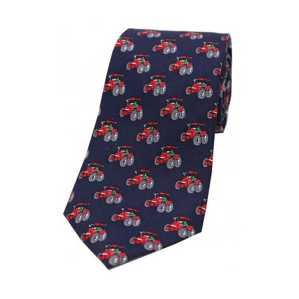 Red Tractors on a Navy Silk Tie