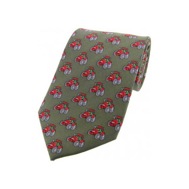 Red Tractors On Country Green Country Silk Tie