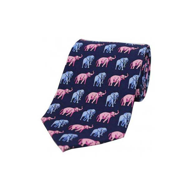 Pink and Sky Blue Elephants on a Navy Silk Tie
