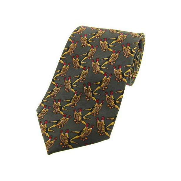 Country Birds On Green Country Silk Tie