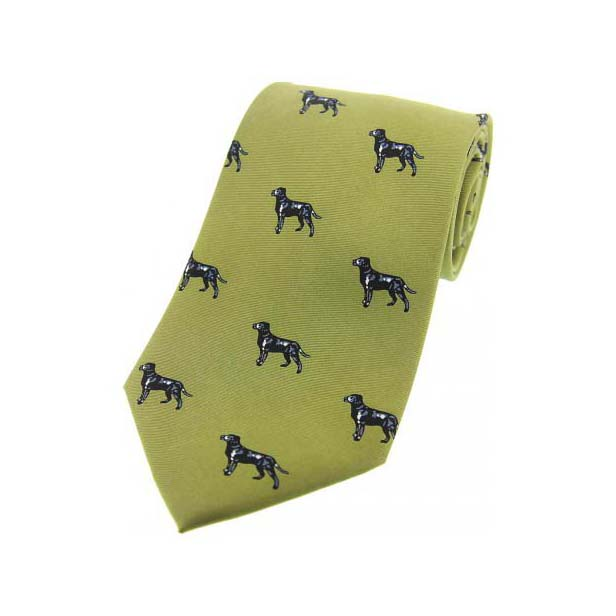 Black Labradors On Green Country Silk Tie