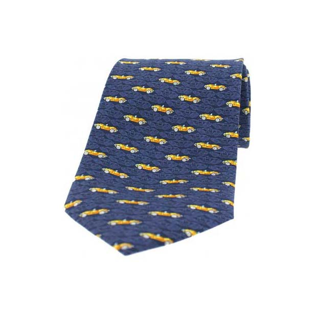 Mustard Yellow Car on a Navy Silk Tie