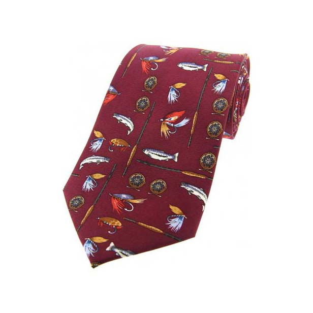 Fishing Tackle On Wine Country Silk Tie