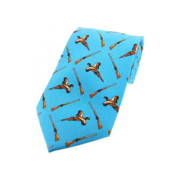 Sky Blue Flying Pheasant and Shotgun Country Silk Tie