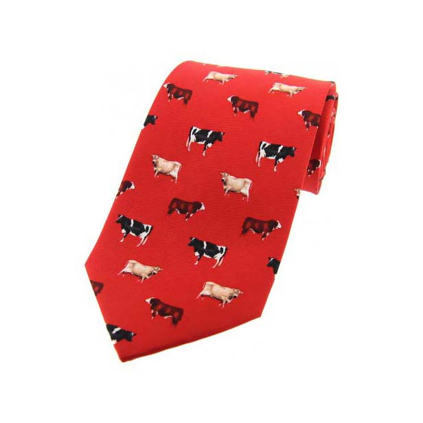 Cow Breeds On Red Country Silk Tie